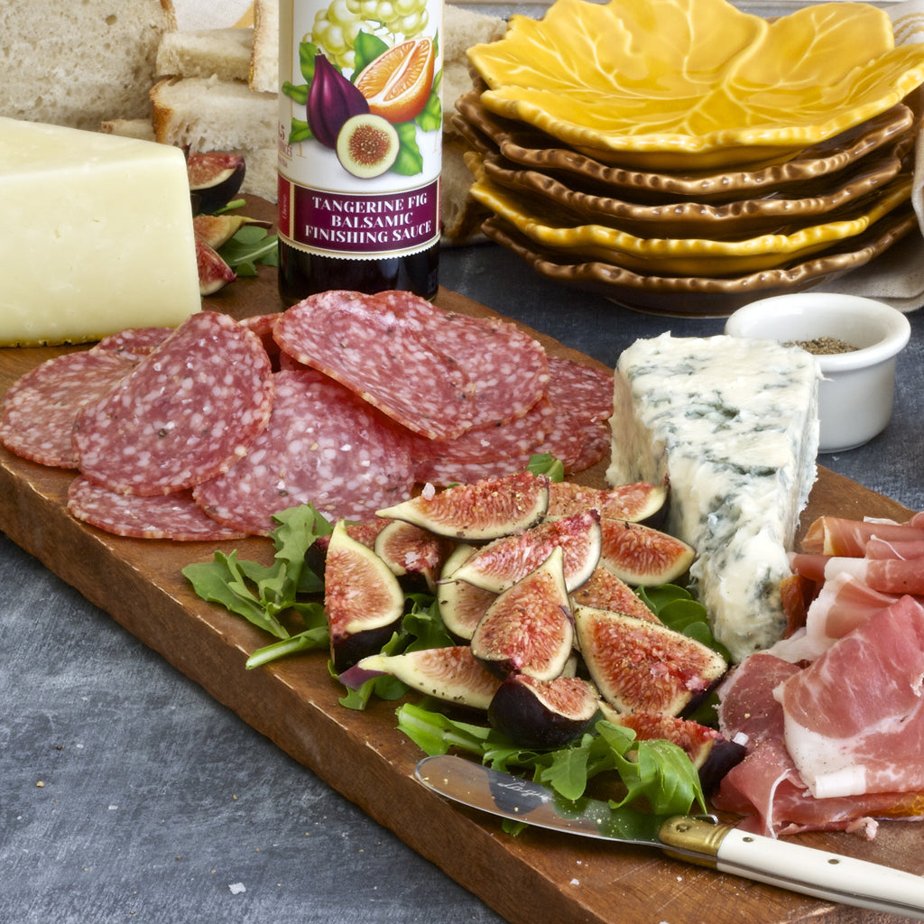 CHARCUTERIE, CHEESE & FIG BOARD (Tangerine Fig Balsamic Finishing Sauce)