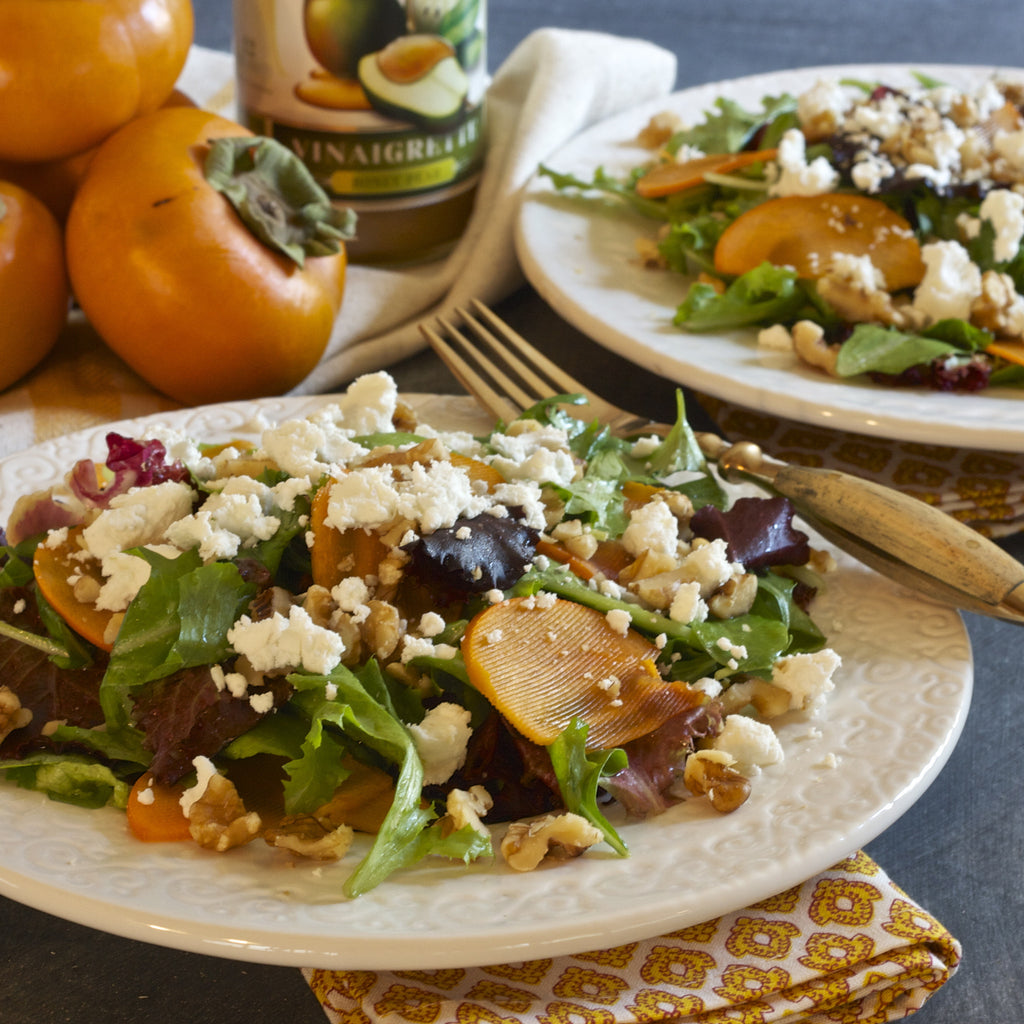 PERSIMMON WALNUT SALAD (Honey Pear Vinaigrette)