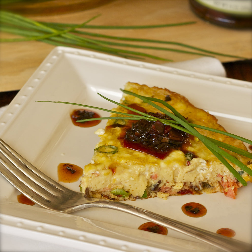 SMOKED SALMON FRITTATA (Red Bell Pepper Ancho Chili Jam)