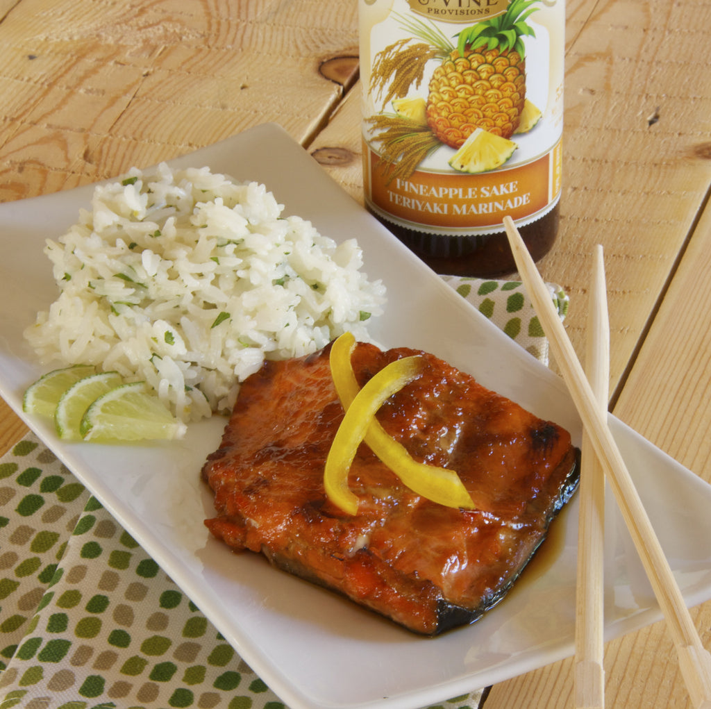 TERIYAKI SALMON (Pineapple Sake Teriyaki Marinade)