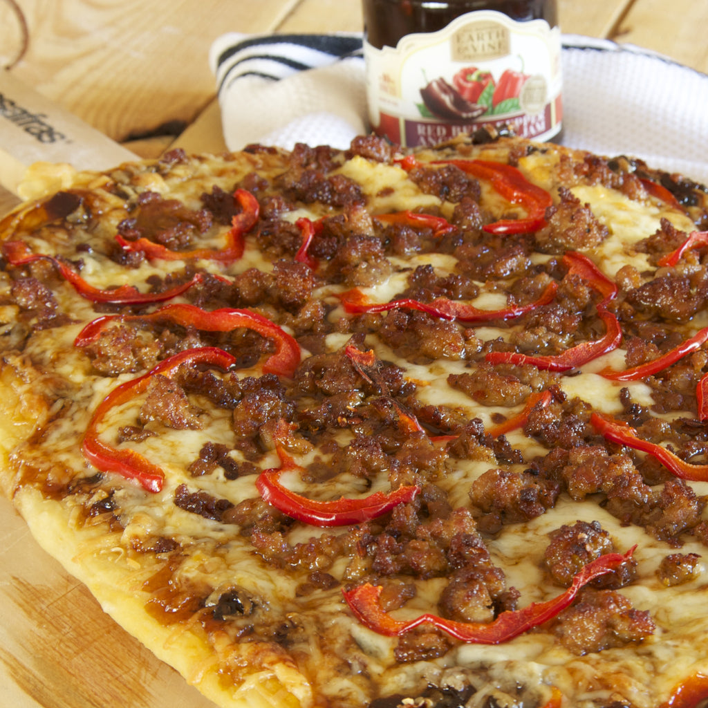 HOT ITALIAN SAUSAGE PIZZA (Red Bell pepper Ancho Chili Jam)