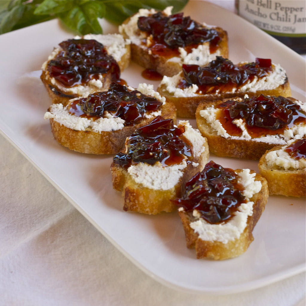 GOAT CHEESE & PEPPER JAM CROSTINIS (Red Bell Pepper Ancho Chili Jam)
