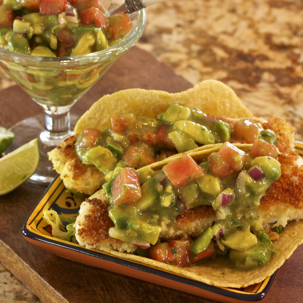 FISH TACOS WITH WATERMELON SALSA (Key Lime Tangerine Chili Marinade & Dressing)