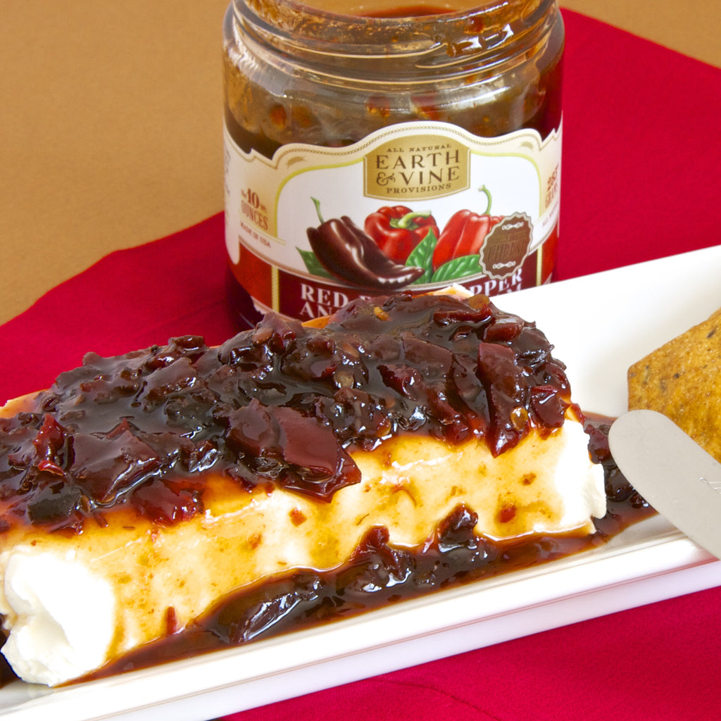 CLASSIC CREAM CHEESE WITH RED PEPPER JAM (Red Bell Pepper Ancho Chili Jam)
