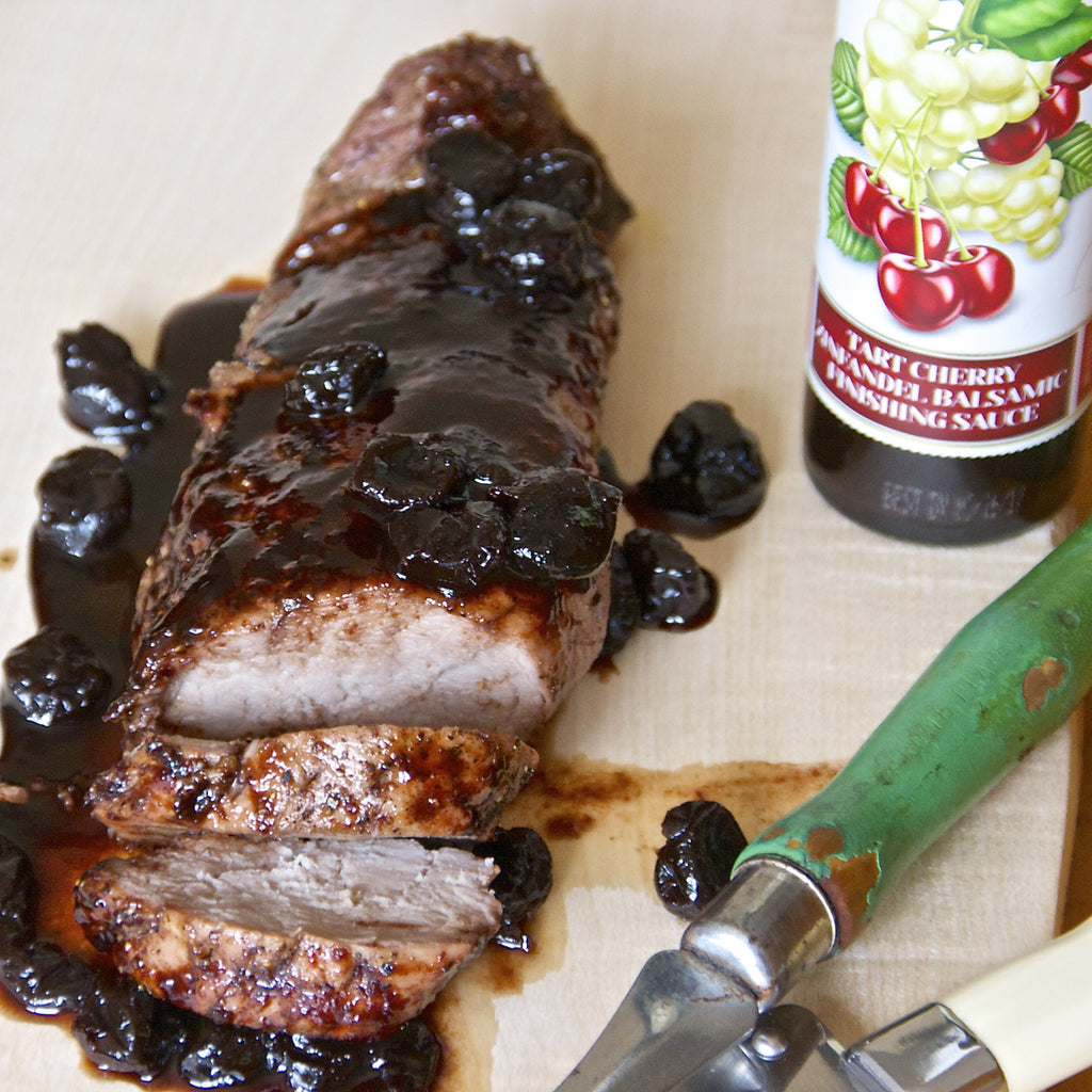 PORK TENDERLOIN WITH CHERRY BALSAMIC REDUCTION SAUCE (Tart Cherry Zinfandel Balsamic Finishing Sauce)