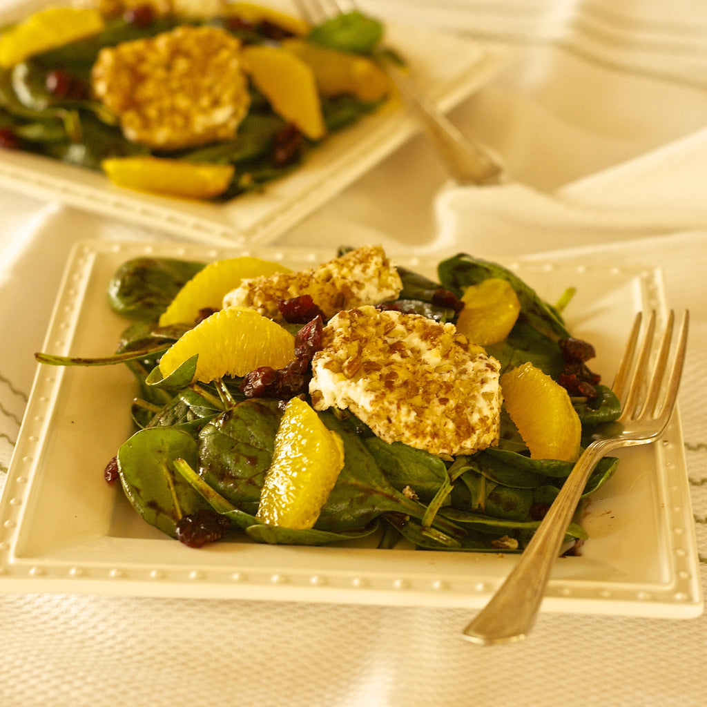 SPINACH SALAD WITH WARM GOAT CHEESE PATTIES (Blood Orange Balsamic Finishing Sauce)