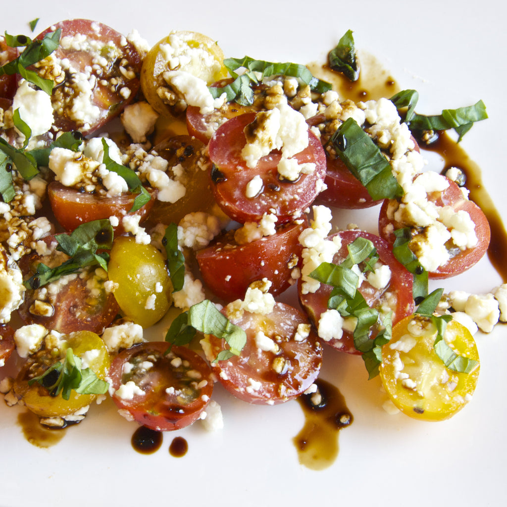 TOMATO FETA SALAD (Tangerine Fig Balsamic Finishing Sauce)