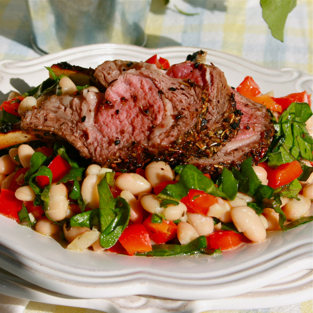 NORTHERN BEAN SALAD WITH LAMB CHOPS (Meyer Lemon Rosemary Marinade & Dressing)