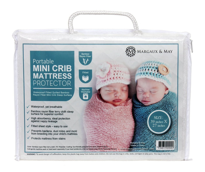 Margaux & May Waterproof Mini Crib Mattress Pad Protector, Fits ALL Portable Crib Sizes