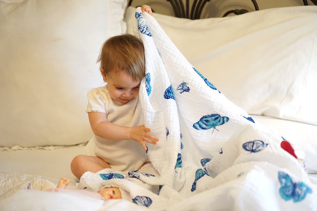 lifting butterfly muslin cotton swaddle