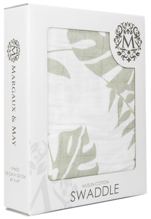 Gray Leaf Single Swaddle Blanket