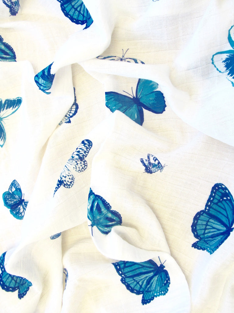 blue butterfly swaddle close up