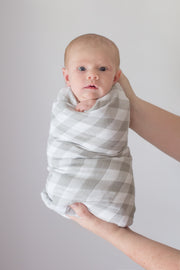 Muslin Swaddle Blankets - Grey Stripes & Gingham