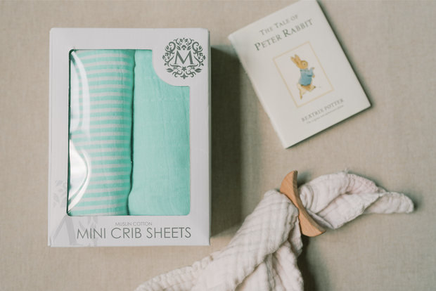 Mini Crib Sheets - AQUA - Premium Muslin Cotton