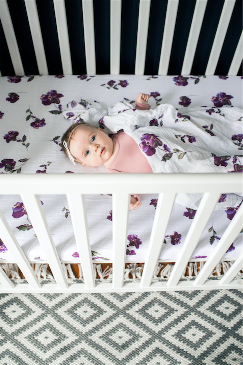 Muslin Cotton Fitted Crib Sheet - Purple Flower