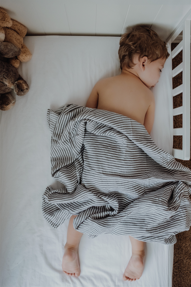 Gray Stripe Swaddle Blanket