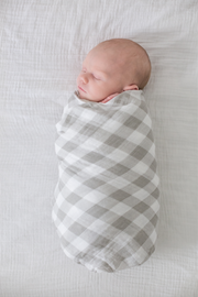 Gray Gingham Swaddle Blanket