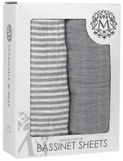 Bassinet Sheets - GREY - Premium Muslin Cotton