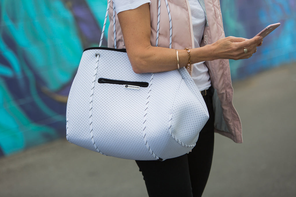 Minimalist Neoprene Tote Bag - White