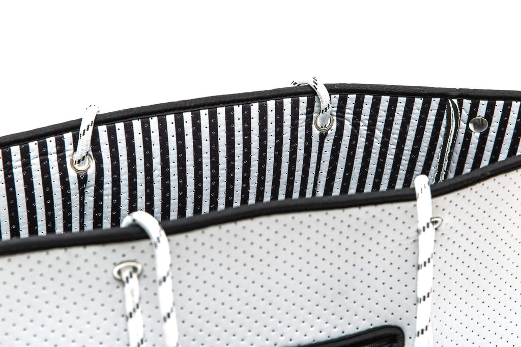 striped neoprene totoe bag from margaux and may