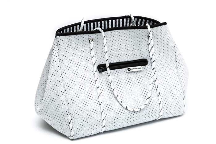white neoprene tote bag by margaux and may