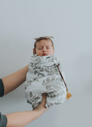 Gray Leaf Swaddle Blanket