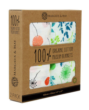 packaged organic swaddle blanket in dandelion and meadow print by Margaux & May
