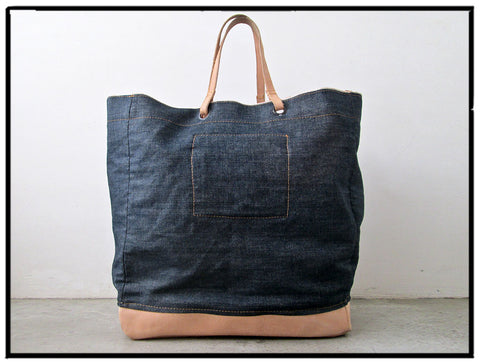 AB Denim Leather Tote