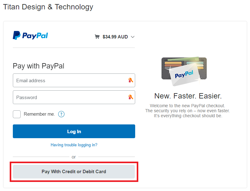 Pay With Credit or Debit Card button