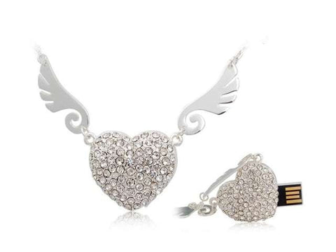 Angel Heart Necklace USB 2.0 Flash Drive - Titan Design & Technology - 1