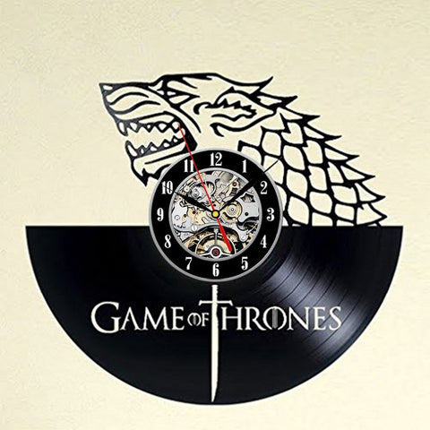 Game of Thrones House of Stark Wolf Vinyl Record Wall Clock - Titan Design & Technology