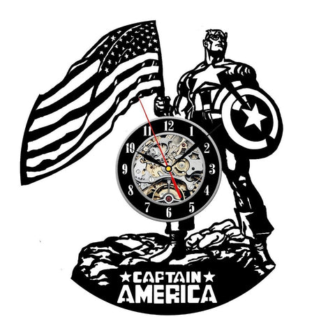 Captain America Decorative Design Vinyl Record Wall Clock - Titan Design & Technology