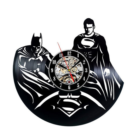 Batman & Superman Vinyl Record Wall Clock - Titan Design & Technology