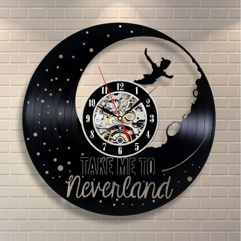 Peter Pan Take Me to Neverland Vinyl Record Wall Clock