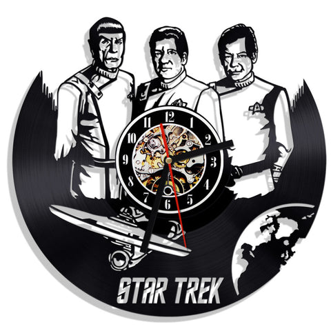 Star Trek Mr. Spock Captain Kirk Leonard McCoy Vinyl Record Wall Clock