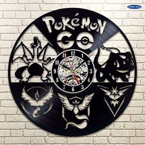Pokemon Go Bulbasaur Charmander Pikachu Squirtle Vinyl Record Wall Clocks