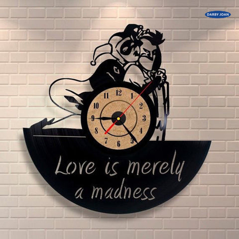 DC Comics: Love is Merely a Madness Joker Harley Quinn Vinyl Record Wall Clock