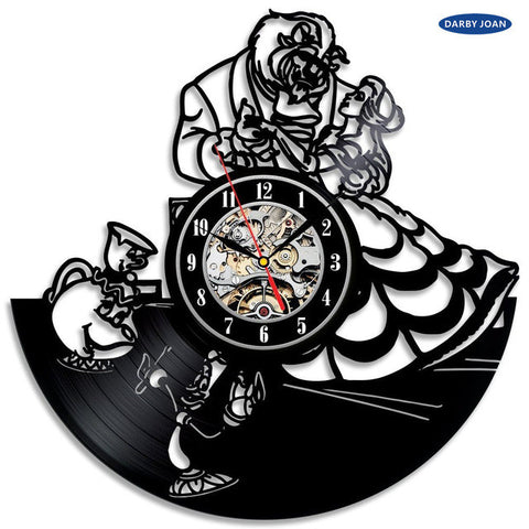 Beauty and the Beast Vinyl Record Wall Clock