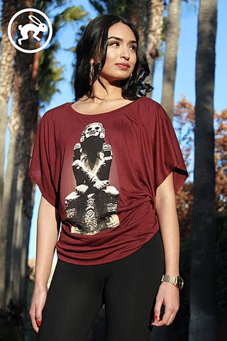 T-Shirt - Ladies Flowy Draped Sleeve Dolman Tee - Xochipilli