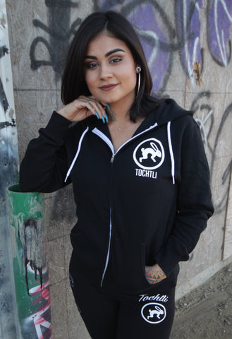 "Hoodie - Unisex Mictlancihuatl ""The Lady of the Dead"" Full Zip-up - Black"