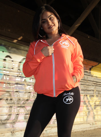 "Hoodie - Unisex Mictlancihuatl ""The Lady of the Dead"" Full Zip-up - Coral"