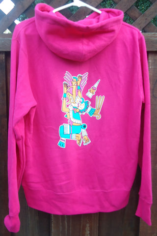 "Hoodie - Unisex Mictlancihuatl ""The Lady of the Dead"" Full Zip-up - Pink"