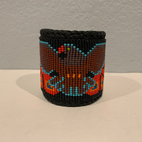 Beaded n leather bracelet 22