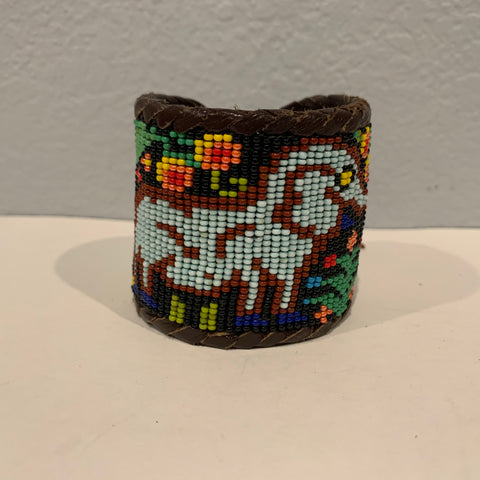 Beaded n leather bracelet 24
