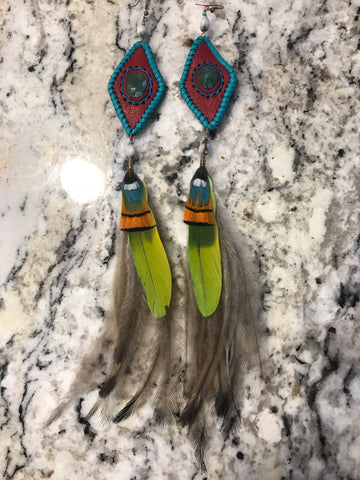Earrings - Leather, stone n feathers