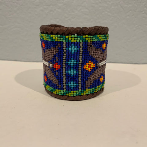 Beaded n leather bracelet 17