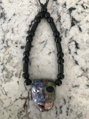 Necklace - Obsidian Life n Death mask