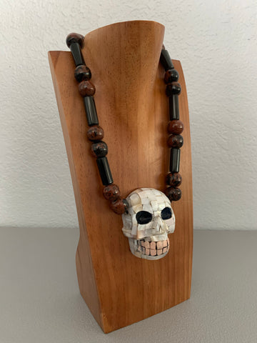 Necklace - Obsidian n skull  mosaic mask