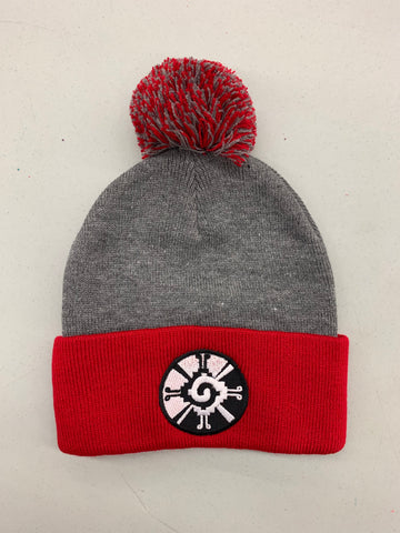 Beanie - Hunab Ku Grey and Red
