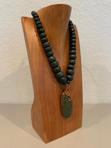 Necklace - Guatamala Jade and Copper Wire pendent